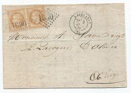 ARIEGE - LAVELANET - GC.1990 S/Paire TP Napoleon Lauré N°28 + Càd Type 17 - 1870 - 1863-1870 Napoleon III With Laurels
