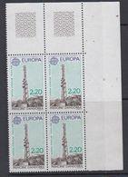 Europa Cept 1988 Andorra Fr 2.20Fr Value Funkturm Von Enclar Bl Of 4 (corner) ** Mnh (48725) - Europa-CEPT