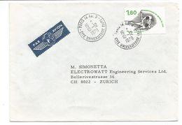 JUDO 1FR60 SEUL LETTRE AVION PARIS 14 AN.3 10.12.1979 CITE UNIVERSITAIRE (14E) POUR SUISSE - Marcophilie (Lettres)