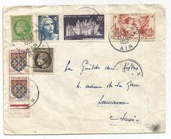 BLASON 10C PAIRE + GANDON MAZELIN N°739+924 LETTRE OYONNAX 1952  POUR SUISSE PAS AU TARIF - 1941-66 Armoiries Et Blasons