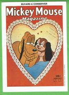 """Buvard """" Les Deux Chiens Dans Un Coeur """"  Magazine Mickey Mouse - Kids"""