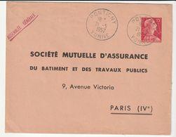 Lettre Entier Postal Type Marianne De Muller 15f Rose Timbré Sur Commande /Société Mutuelle, Pontigny , 1957 - Sobres Tipos Y TSC (antes De 1995)