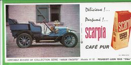 Buvard - Série Vieux Tacots - Modèle 12 PEUGEOT LION 1903  - Pub Café Scarpia - Kinder
