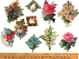 10 Découpis Bouquets De Fleurs, Roses Muguet, Avant 1900  A Voir! - Oblaten, Glanzbilder