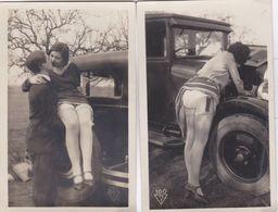 FEMME DENUDEE NU VOITURE 2 CARTES - Belleza Feminina (1941-1960)