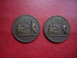 MEDAILLE - Médaille De La Société Pour L'instruction élémentaire,1840,Bronze Signée F. DOMARD - 2 Médailles - Professionnels / De Société