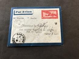 Lettre Entier Indochine Par Avion 1936 Vanly Tonkin Pour Paris - Indochine (1889-1945)