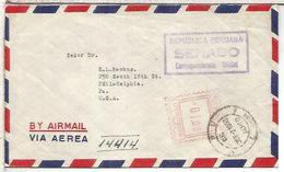 PERU 1959 CC CORREO AEREO A USA CORREO OFICIAL SENADO SENATE - Pérou