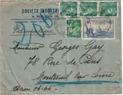 CTN63/FR - EXPO INT.LE N.YORK 2f25 + COMPL.TS 1f75 SUR LETTRE PNEUMATIQUE PARIS / MONTREUIL 27/7/1939 - Postal Stamped Stationery