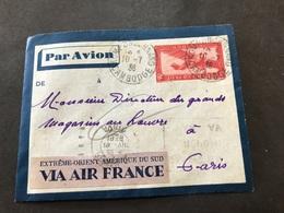 Lettre Entier Indochine Par Avion 1936 Kompongchnang Cambodge Pour Paris - Indochina (1889-1945)