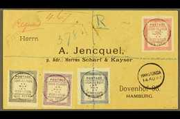 1893  (14th August) Rare Envelope Registered To Germany, Bearing The 1892 Set Of Four, SG 1/4, Tied By Black Cook Island - Cook Islands