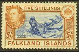 1938-50  KGVI Definitive 5s Steel Blue And Buff-brown (thin Paper), SG 161d, Fine Used. For More Images, Please Visit Ht - Falkland