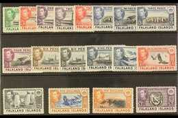 1938-50  KGVI Pictorial Definitives Complete Set, SG 146/63, Very Fine Mint. (18 Stamps) For More Images, Please Visit H - Falkland