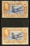 1938-50  KGVI 5s Blue & Chestnut, SG 161 & 5s Indigo & Pale Yellow Brown, SG 161b, Very Fine, Cds Used (2 Stamps) For Mo - Falkland
