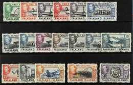 1938-50  KGVI Definitives Complete Set, SG 146/63, Fine To Very Fine Cds Used (18 Stamps) For More Images, Please Visit  - Falkland