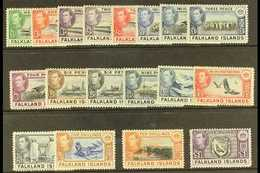 1938-50  Pictorial Definitives Complete Set, SG 146/163, Never Hinged Mint. (18 Stamps) For More Images, Please Visit Ht - Falkland