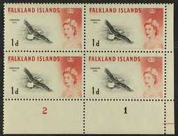 1960-66  1d Black & Carmine-red Bird WEAK ENTRY Variety (position R. 12/5), SG 194ab, Within Lower Right Corner Plate Nu - Falkland