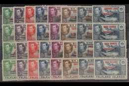 1944-45  All Four Overprinted Sets, SG A1/8, B1/8, C1/8 & D1/8, Never Hinged Mint (32 Stamps) For More Images, Please Vi - Falkland