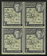 1946-49  1d Black & Violet Thick Map EXTRA ISLAND Variety, SG G2aa, Within Fine Mint BLOCK Of 4, Fresh. (4 Stamps) For M - Falkland