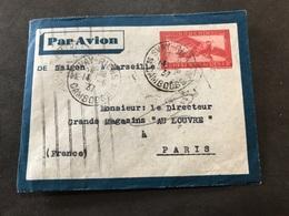 Lettre Entier Indochine Par Avion 1937 Svay-Rieng Cambodge Pour Paris - Indochina (1889-1945)