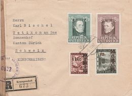 Autriche Lettre Recommandée Censurée Krumpendorf Pour La Suisse 1947 - 1945-60 Lettres