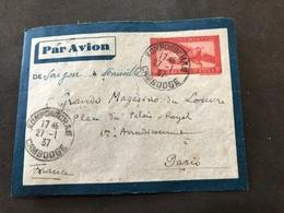 Lettre Entier Indochine Par Avion 1937 Kompongcham Cambodge Pour Paris - Indochina (1889-1945)
