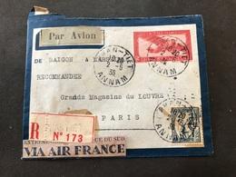 Lettre Entier Indochine Par Avion 1936 Phan-Tiet Annam Pour Paris - Indochina (1889-1945)