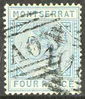 "1884-85  4d Blue Watermark ""CA"", SG 11, Fine With ""A08"" Cancel. For More Images, Please Visit Http://www.sandafayre.com/ - Montserrat"