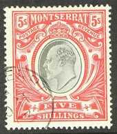 1903  5s Black And Scarlet, SG 23, Fine Nov. 1903 Corner Cds Used. For More Images, Please Visit Http://www.sandafayre.c - Montserrat