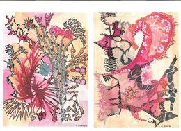 Lot 2 Menus AIR FRANCE Sur New York Paris En 1986 Illustrations Aux Encres De Couleurs De Marc Bugeya - Menus