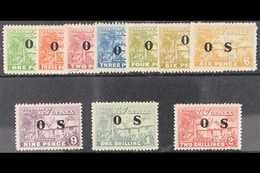 "OFFICIAL  1925-31 ""Native Village"" Complete Set With ""O S"" Overprint, Including 6d Both Shades, SG O22/O30 Plus O27a, Fi - Papua New Guinea"