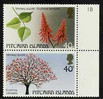 """1987  Trees (2nd Series) 40c Vertical Pair, Variety """"Wmk Crown To Right Of CA"""", SG 304aw, Never Hinged Mint Marginal Pai - Stamps"""