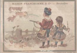 CHROMO MAISON FRANCHOMME & Cie BRUXELLES  LA CHASSE AUX GROS GIBIERS  VACHES - Chromos