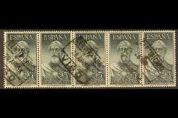 1953  25p Legazpi Air Stamp, SG 1191 (Edifil 1124), Used STRIP OF FIVE With Neat Certificado Datestamp Cancels. Rare Mul - Spain