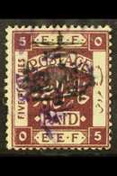 1923  (Apr-Oct) 1p On 5p Deep Purple Surcharged In Black On Issue Of Dec 1922 Perf 15x14 (violet Handstamp) With INVERTE - Jordania