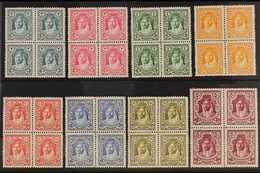 1927-29  Emir Abdullah Complete Set To 50m, SG 159/66, Superb Never Hinged Mint BLOCKS Of 4, Very Fresh. (8 Blocks = 32  - Jordania