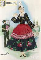 CARTE BRODEE . BRETAGNE ( Blason ) COSTUME DE QUIMPER   .. JOUEUR DE BINIOU - Embroidered