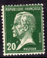 France N° 172 XX Type Pasteur : 20 C. Vert  Sans Charnière TB - 1900-29 Blanc