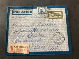 Lettre Entier Indochine Par Avion 1936 Hai-Duong Tonkin Pour Paris - Indochina (1889-1945)