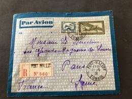 Lettre Entier Indochine Par Avion 1936 Port-Wallut Tonkin Pour Paris - Indochine (1889-1945)