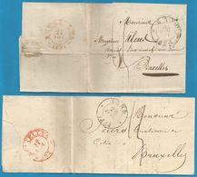 (T-141) Belgique - 2 LAC De 1831 Et 33 De GENT (GAND En Noir) Vers Bruxelles (en Rouge) - 1830-1849 (Belgica Independiente)