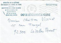CTN63/FR - LETTRE EN FRANCHISE PARIS ARMEES MINISTERE DE LA DEFENSE 21/6/1989 - Military Service Stampless