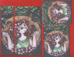 -844-  CHAT PAPILLON ET OISEAUX ART NOUVEAU  - TRIO MARQUE PAGE PUZZLE + CARTE + AUTOCOLLANT - Marque-Pages
