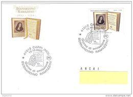 ITALIA - 2003 CARPI (MO) BERNARDINO RAMAZZINI Medico - Annullo Fdc - 1684 - Medicina