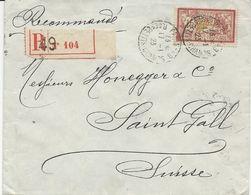 LETTRE RECOMMANDEE POUR LA SUISSE 1923 AVEC  TIMBRE AU TYPE MERSON PERFORE B P  - BANQUE DE PARIS ET DES PAYS BAS - - Perforés