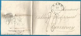 (T-144) Belgique - LAC De 1832 De GENT (GAND En Noir) Vers TOURNAI (en Bleu ?) - 1830-1849 (Belgica Independiente)
