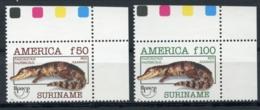 Suriname, 1993, Cayman, Upaep, Animals, Fauna, MNH, Michel 1455-1456 - Surinam