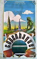 AFFICHE ORIGINALE PUBLICITE IBM CONVENTIONS 1985 COPENHAGUE BELLE ILLUSTRATION DESSIN BD - Afiches
