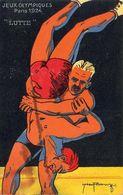JEUX OLYMPIQUES PARIS 1924  LUTTE   ..........  Illustrateur ROOWY - Lutte