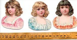 3 Découpis Bustes Jolies Jeunes Filles Avant 1900 A Voir! - Oblaten, Glanzbilder
